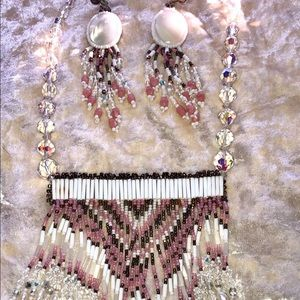 Jewelry - 90s Indian Beads Necklace Earrings Aurora Pearls
